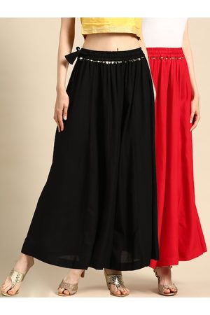 Tag 7 Women Black & Red Solid Flared Palazzos