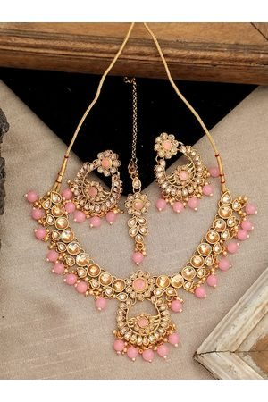 ANIKAS CREATION Gold-Plated Pink & White Kundan-Studded Pearl Beaded Handcrafted Jewellery Set