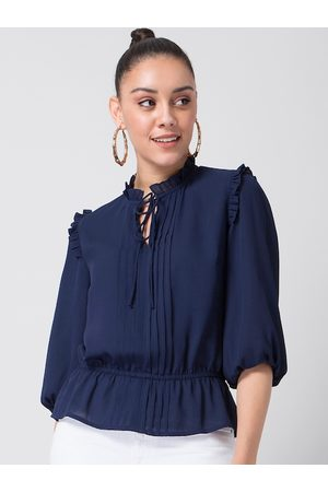FabAlley Blue Solid Tie-Up Neck Puff Sleeves Crepe Cinched Waist Top