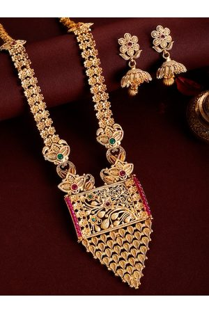 Rubans 24K Gold-Plated & Pink Ruby Stone Studded Handcrafted Jewellery Set