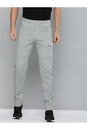PUMA Men Grey Slim Fit TeamCUP dryCell Technology Solid Track Pants