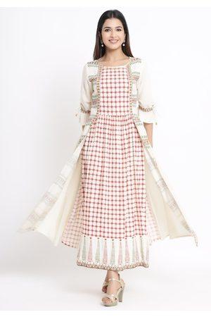 Juniper Women Cream-Coloured & Maroon Checked Maxi Dress