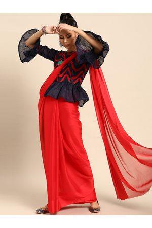 SHAVYA Women Red & Navy Blue Pure Chiffon Solid Saree