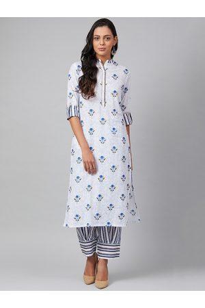 Tulsattva Women Kurtas - Women White & Blue Printed Kurta with Salwar