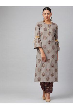 Tulsattva Women Grey & Brown Printed Kurta with Salwar