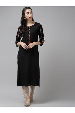 Cayman Women Black Floral Yoke Design Pure Cotton Thread Work Straight Kurta