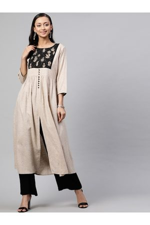 STREET 9 Women Beige & Black Embroidered Kurta with Trousers