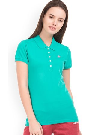 Aeropostale Women Green Solid Polo Collar T-shirt
