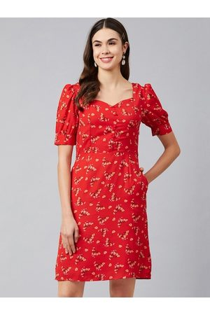 marie claire Women Red Printed A-Line Dress