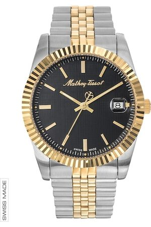 Mathey-Tissot Swiss Made Men Rolly III Black Dial Two-tone Watch H810BN
