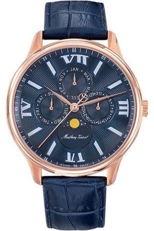 Mathey-Tissot Swiss Made Men Edmond Moon Phase Blue Dial Multifunction Watch H1886RPBU