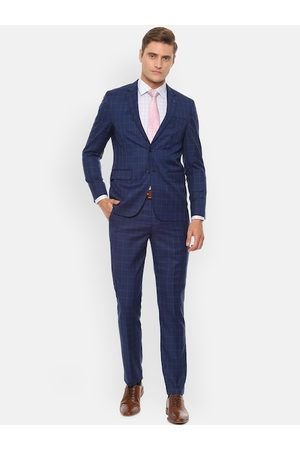 Louis Philippe Men Blue Checked Slim-Fit Single-Breasted Formal Suit