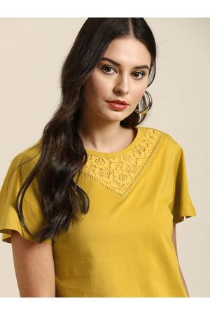 all about you Women Tops - Women Mustard Yellow Solid Pure Cotton Top With Lace Detail