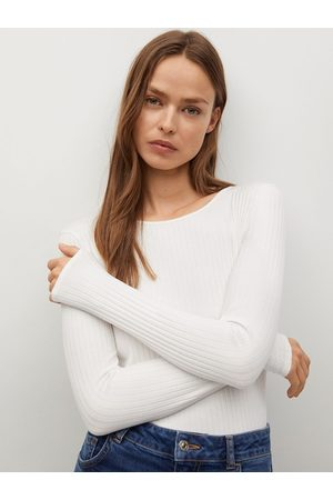 MANGO White Solid Fitted Sustainable Top With Tie-Ups