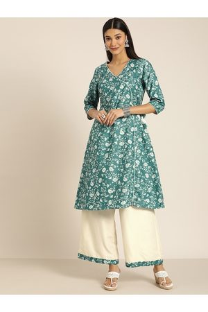 all about you Women Teal Green & Off-White Floral Print A-Line Kurta with Solid Palazzos