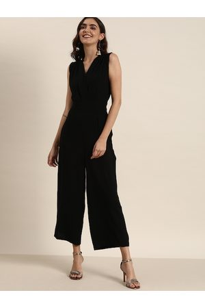 all about you Women Black Solid Basic Jumpsuit