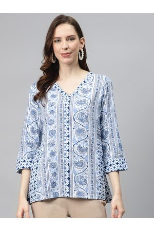 Global Desi Women Blue & Off-White Ethnic Motifs Print Sustainable A-Line Top