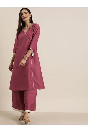 all about you Women Pink Solid Angrakha Kurta with Palazzos