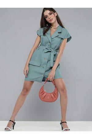 Sassafras Women Sea Green Solid Shirt Dress With Waist Tie-Up Detail
