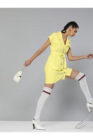 Sassafras Women Yellow Solid Pure Cotton Blazer Dress