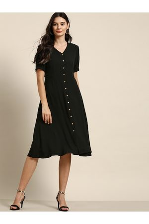 all about you Women Black Solid A-Line Dress