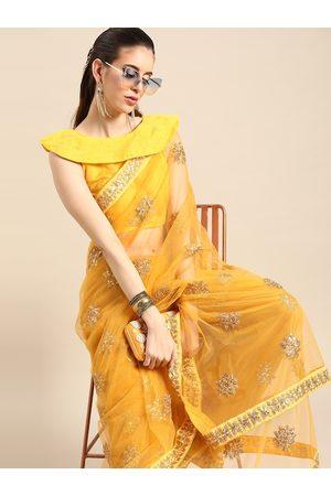 SHAVYA Women Yellow & Golden Embellished Net Saree