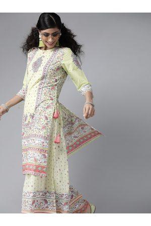Juniper Women Lime Green & Pink Cambric Cotton Paisley Print Kurta with Palazzos