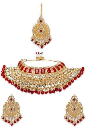 Peora Gold Plated Red Kundan Studded Jewellery Set
