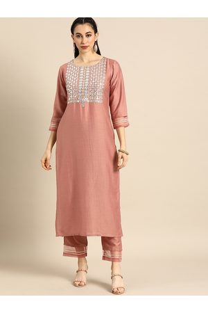 Varanga Women Sets - Women Rose & Silver-Toned Embroidered Kurta Set