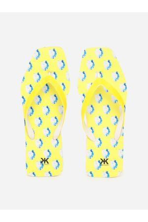 Kook N Keech Women Yellow & White Printed Thong Flip-Flops