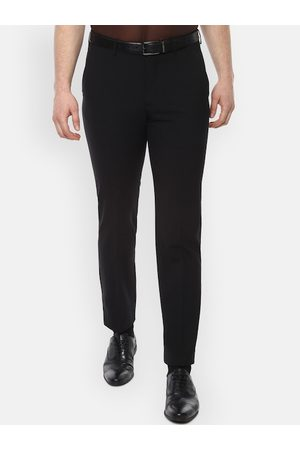 Luxure by Louis Philippe Men Black Slim Fit Solid Formal Trousers