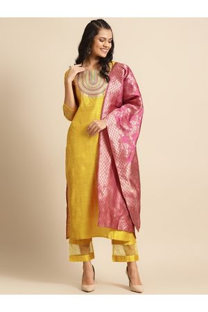 Varanga Women Mustard Yellow & Pink Embroidered Kurta with Trousers & Dupatta