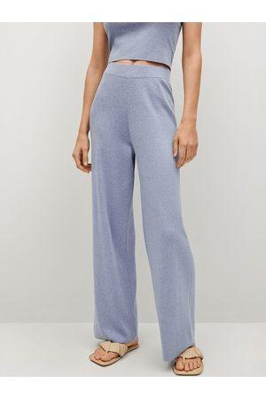 MANGO Women Blue Pure Cotton Regular Fit Solid Trousers