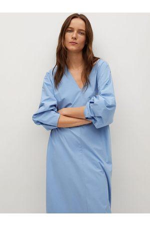 MANGO Women Blue Solid Midi Shift Dress with Pockets