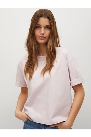 MANGO Women Pink Solid Pure Cotton Round Neck Sustainable T-shirt