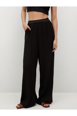 MANGO Women Black Flared Solid Parallel Trousers