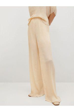 MANGO Women Cream-Coloured Self-Striped Flared Trousers
