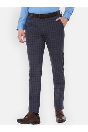 Louis Philippe Men Navy Blue Slim Fit Checked Formal Trousers