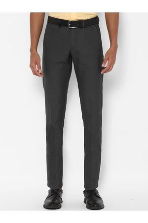 Allen Solly Men Grey Slim Fit Solid Formal Trousers