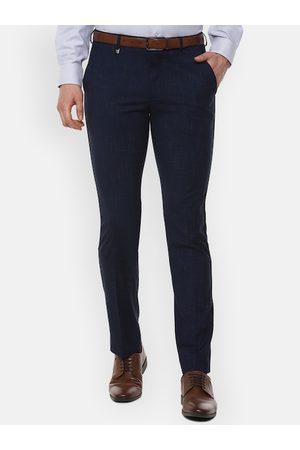 V Dot Men Navy Blue Skinny Fit Self Design Formal Trousers