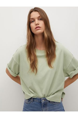 MANGO Women Green Organic Cotton Solid Round Neck T-shirt