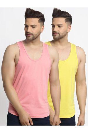 Friskers Men Pack Of 2 Solid Apple Cut Gym Vests