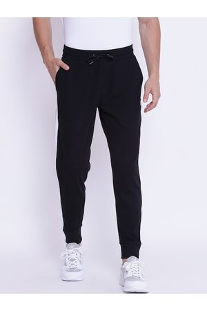 Red Tape Men Black & White Solid Joggers