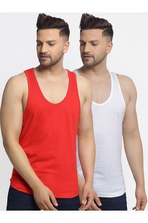 Friskers Men Pack Of 2 Solid Gym Vest