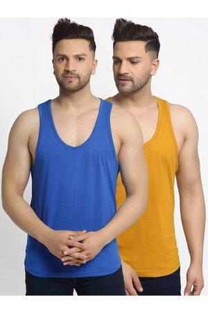 Friskers Men Pack Of 2 Solid Casual Apple Cut Gym Vests