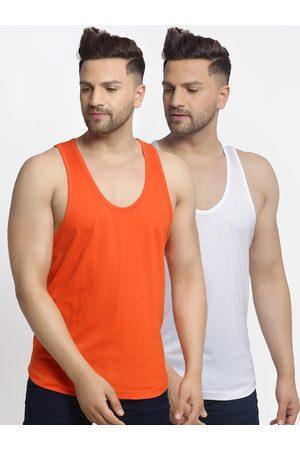 Friskers Men Pack Of 2 Solid Gym Vests