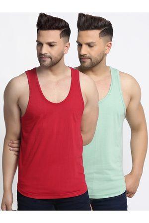 Friskers Men Pack Of 2 Solid Apple Cut Gym Vest
