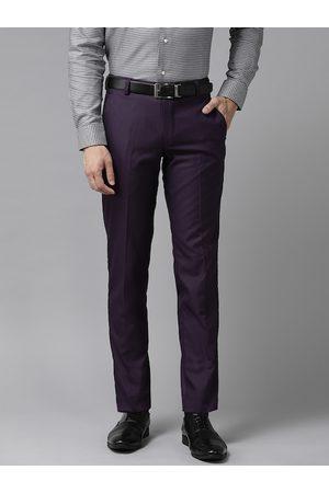 Hangup Men Purple Regular Fit Solid Formal Trousers
