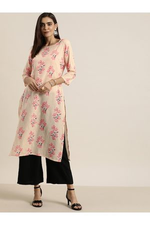 all about you Women Peach-Coloured & Pink Floral Printed Floral Kurta