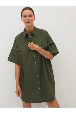 MANGO Women Olive Green Cotton Solid Shirt Dress